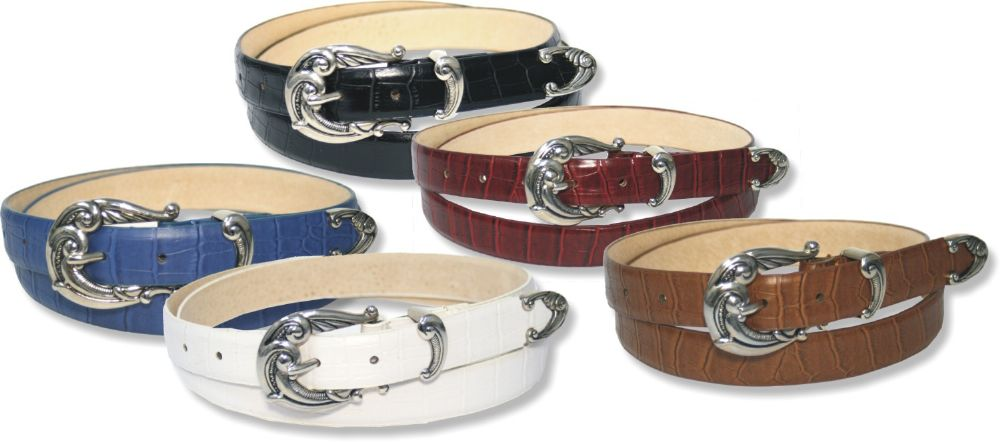 Ladies Wave Design Leather Lined Belt (5 Colours)